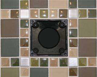 Ebbe Unique Square Shower Drain Brushed Nickel - Bubbles