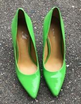 Nine West Frog Green Heels Pumps Size 6 Garison Patent Shoes - $29.69