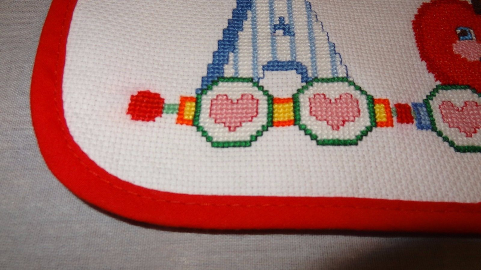 New Baby Pocket Bib A is for Apple Boy or Girl Unisex Finished Cross Stitch