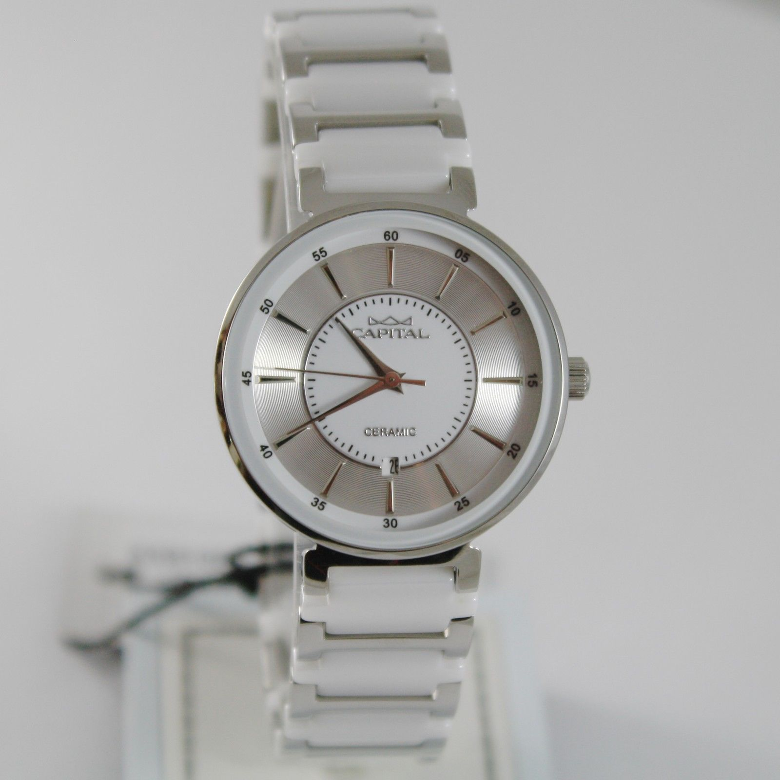 CAPITAL WATCH QUARTZ MOVEMENT 32 MM CASE WITH DATE, VINTAGE, WHITE CERAMIC
