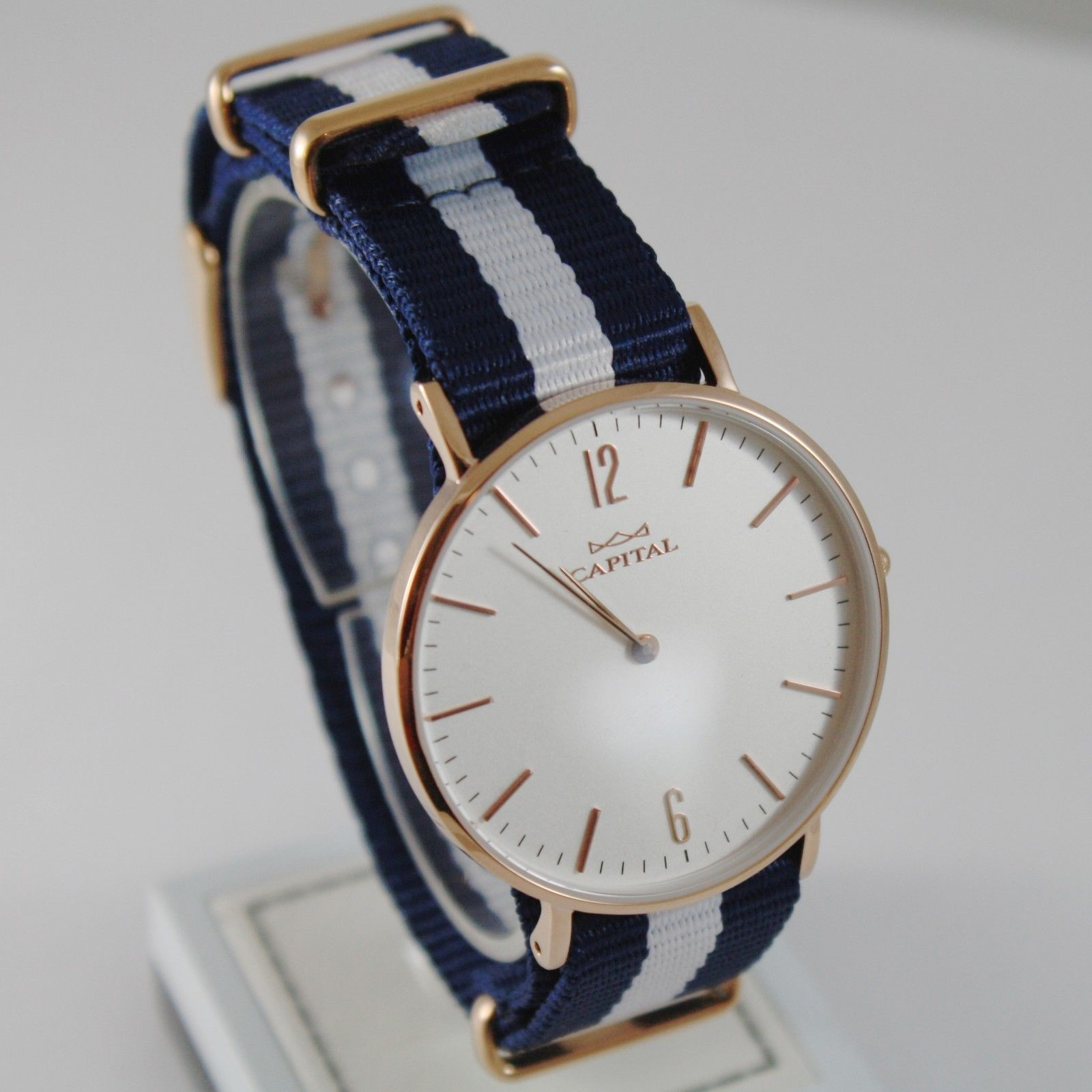 CAPITAL WATCH QUARTZ MOVEMENT 36 MM ROSE CASE BLUE AND WHITE FABRIC BAND VINTAGE