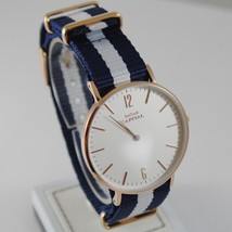 CAPITAL WATCH QUARTZ MOVEMENT 36 MM ROSE CASE BLUE AND WHITE FABRIC BAND VINTAGE image 1