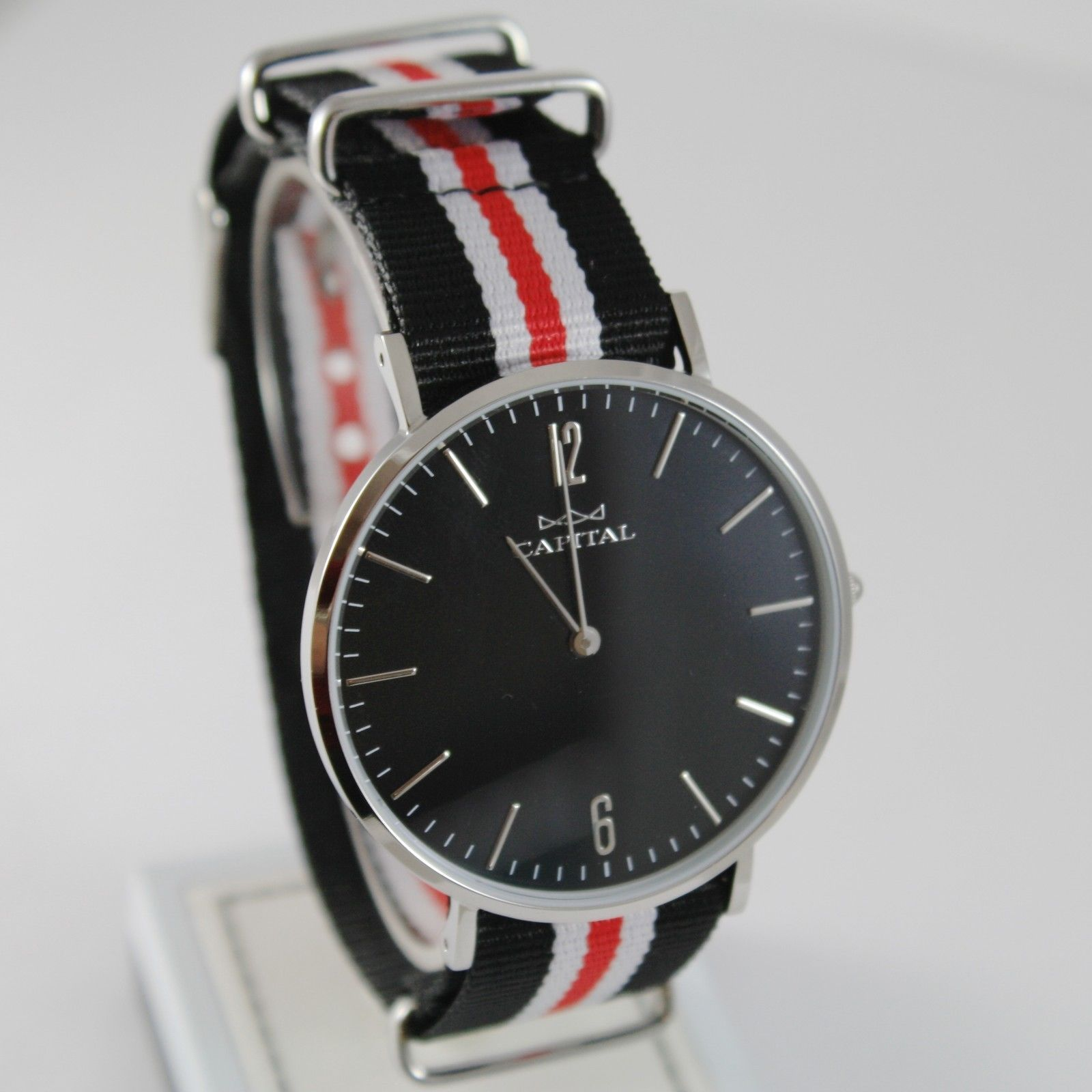 CAPITAL WATCH QUARTZ MOVEMENT 41 MM CASE, BLACK, RED AND WHITE FABRIC BAND NYLON
