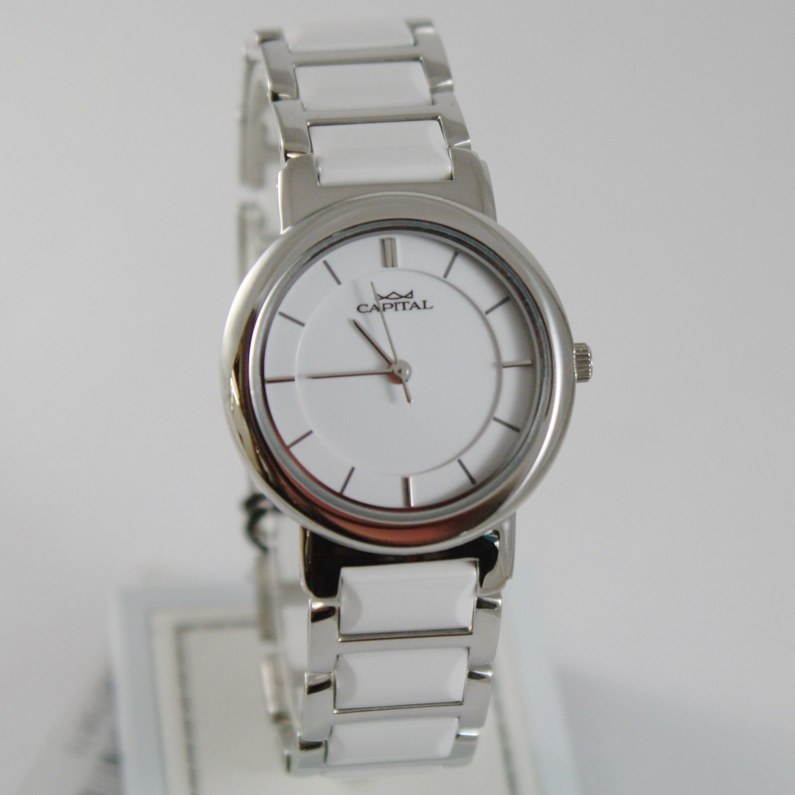 CAPITAL WATCH QUARTZ MOVEMENT 30 MM CASE, STAINLESS STEEL AND WHITE CERAMIC