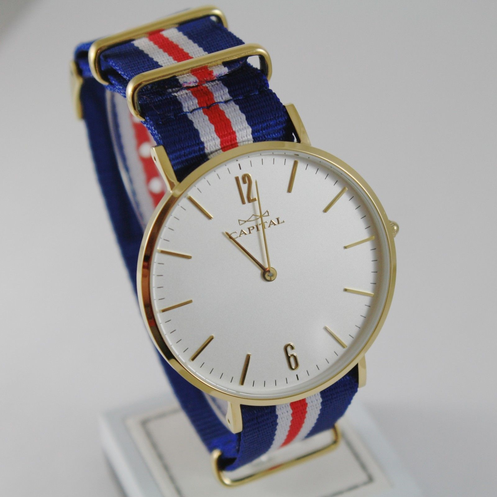 CAPITAL WATCH QUARTZ MOVEMENT 41 MM YELLOW CASE BLUE RED WHITE FABRIC BAND NYLON