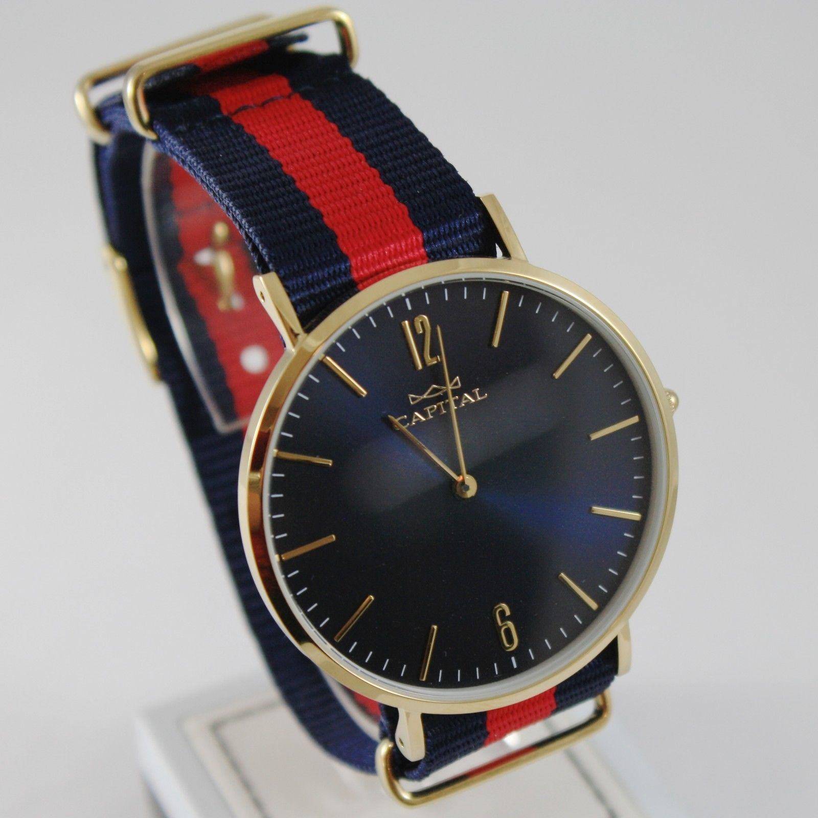 CAPITAL WATCH QUARTZ MOVEMENT 41 MM YELLOW CASE BLUE AND RED FABRIC BAND NYLON