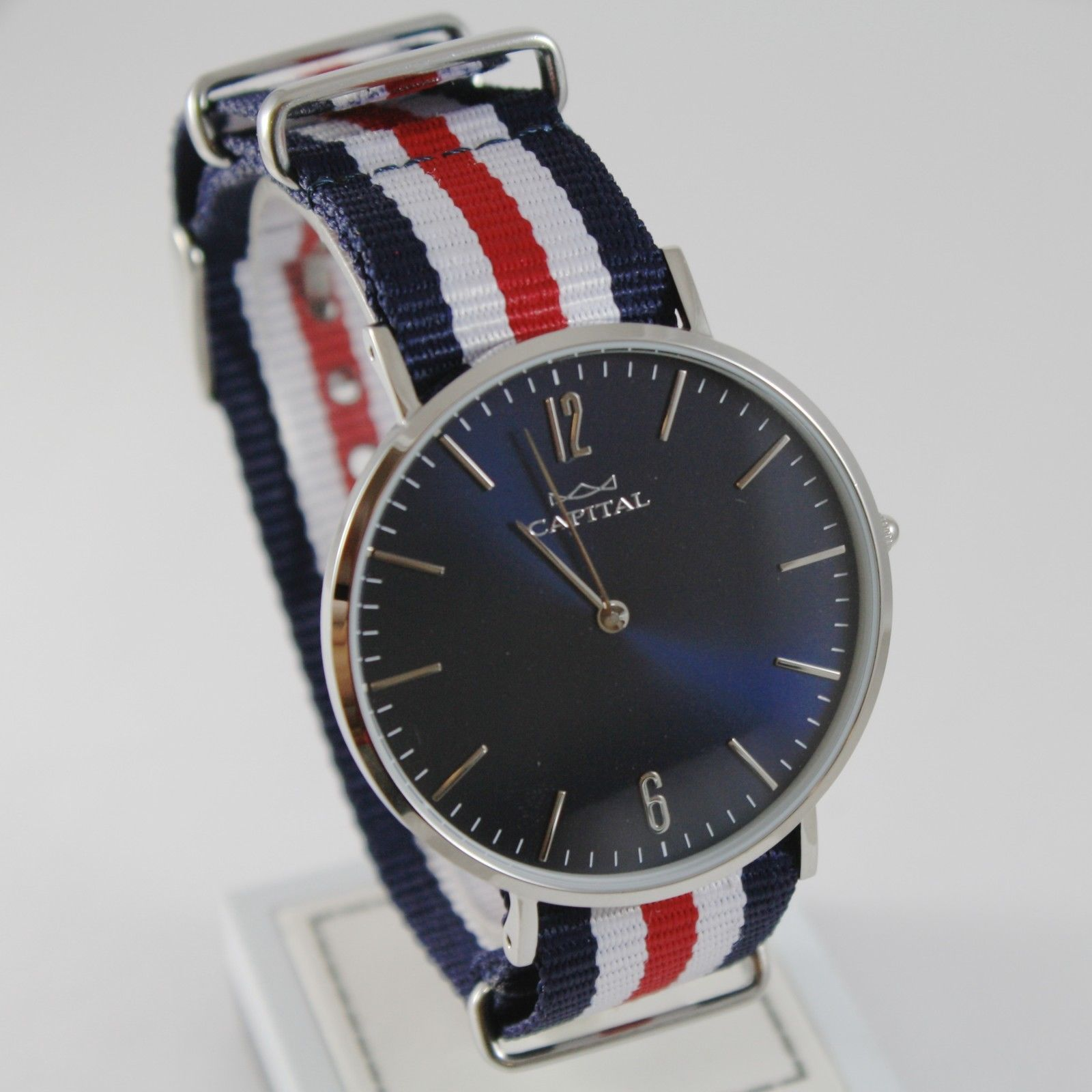 CAPITAL WATCH QUARTZ MOVEMENT 41 MM CASE, BLUE, RED AND WHITE FABRIC BAND NYLON