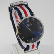 CAPITAL WATCH QUARTZ MOVEMENT 41 MM CASE, BLUE, RED AND WHITE FABRIC BAND NYLON image 1