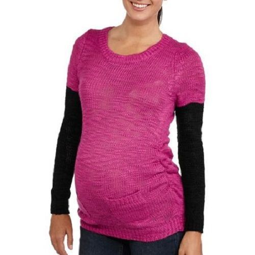 Primary image for Planet Motherhood Maternity 3/4 Sleeve Chunky Sweater with Contrast Arm NWT