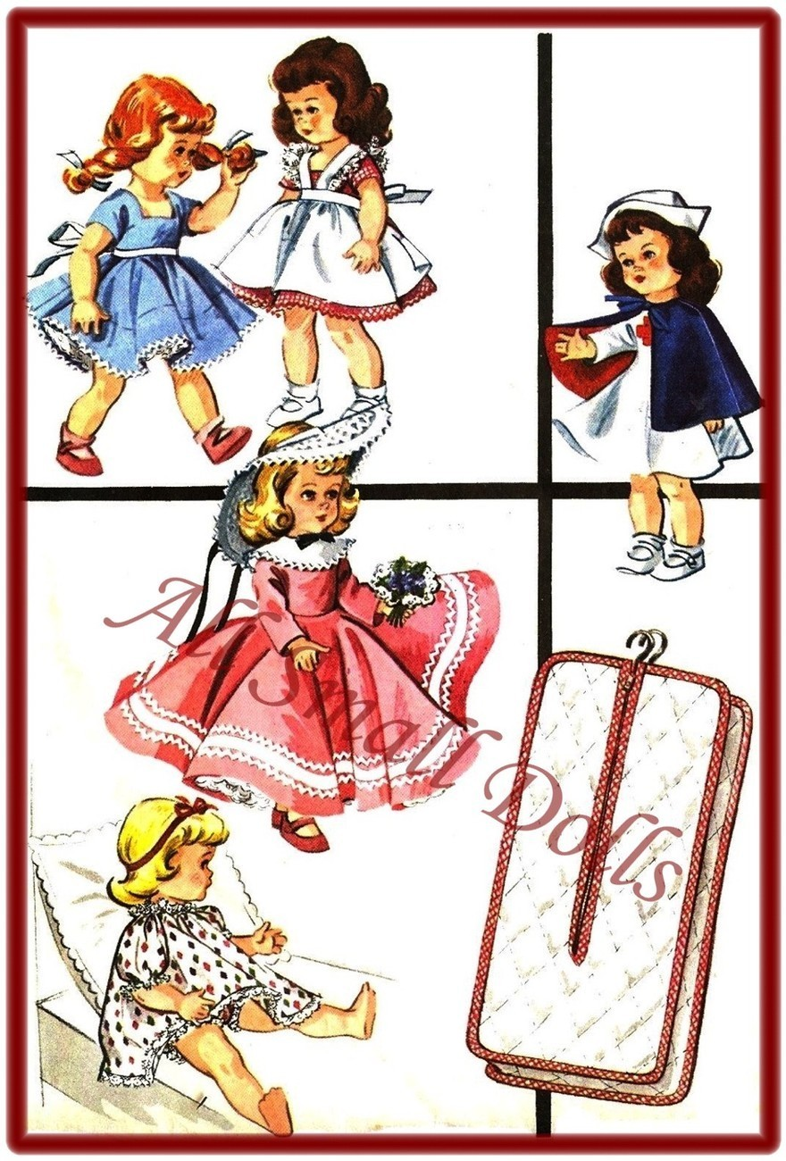 "Vintage Doll Clothing Pattern for 9""-10"" Dolls"