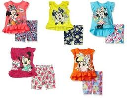 Infant Girl's 2-Piece Short Set Disney Baby Minnie Mouse Top Shirt Bike Shorts