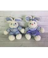 Vintage Cuddle Wit Bunny Rabbit Boy Girl Plush Stuffed Animal White Blue Gingham - $84.15