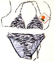 Tangerine Zebra Stripe Animal Print Bikini Swimsuit NWT$68 Sz 10 Top/12 ... - $47.49