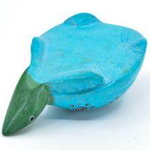 Hard Carved Kisii Soapstone Sky Blue & Green Turtle Figurine Made in Kenya image 5