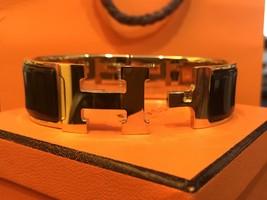 Authentic HERMES Clic Clac Wide Bracelet H BLACK GOLD HW SZ M Bangle  image 6