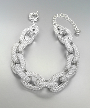 STUNNING Chunky Designer Style Silver CZ Crystals Encrusted Chain Link B... - $1.139,15 MXN