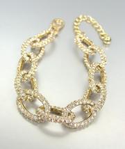 STUNNING Designer Style Gold CZ Crystals Encrusted Chain Links Bracelet  - $26.99