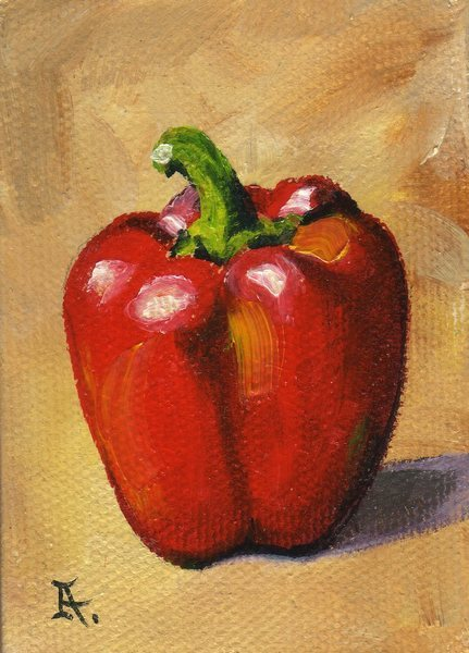 Akimova: PEPPER, food,paprika,still life,ACEO