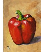 Akimova: PEPPER, food,paprika,still life,ACEO - $8.99