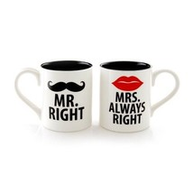 'Mr. Right And Mrs. Always Right' Mugs By Lorrie Veasey, Set Of 2 - $39.45