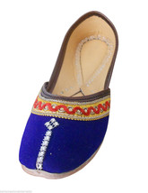 Women Shoes Indian Traditional Handmade Leather Flip-Flops Blue Mojari U... - £19.27 GBP