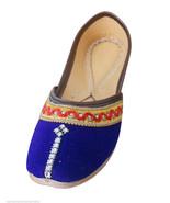 Women Shoes Indian Traditional Handmade Leather Flip-Flops Blue Mojari U... - $24.99
