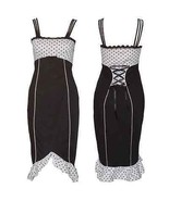 Size 22 Black & White Polka Dot Pin-up Pencil Wiggle Dress ~ 1950's ~ 2X... - $44.50