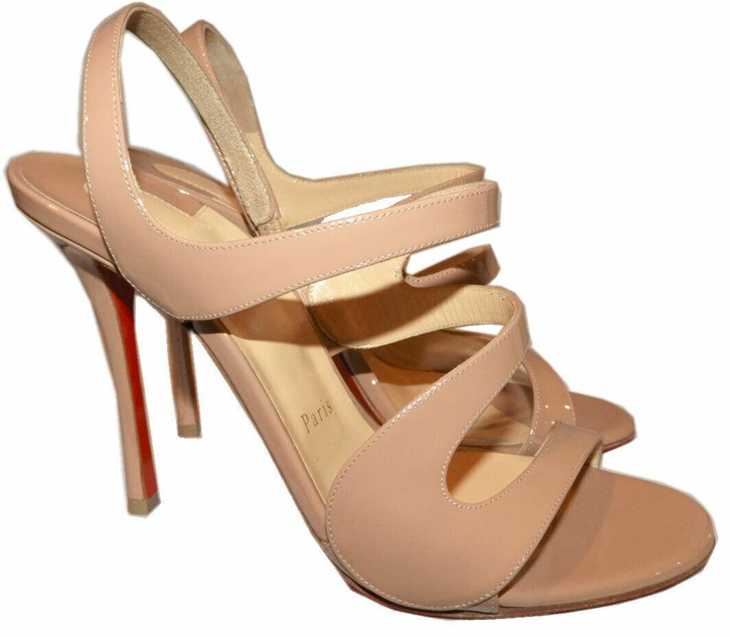 $895 Christian Louboutin Vavazou Slingback Sandals Shoes Nude Beige Pumps 38