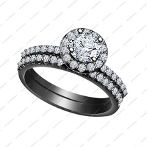 Black Rhodium Plated 925 Sterling Silver White CZ Engagement Bridal Ring Set 6 7 - £60.81 GBP