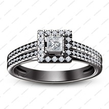 Black Gold Plated 925 Sterling Silver Princess Cut CZ Solitaire W/ Accent Ring - $85.99