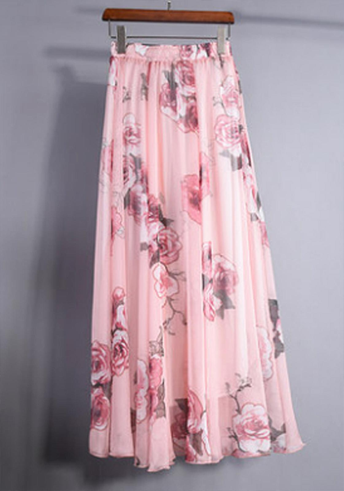 Pretty Pink Rose Garden Chiffon Maxi Skirt Summer Floral