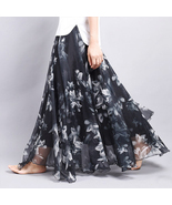 Black And White Floral Blossom Chiffon Maxi Ski... - $59.90