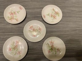 Ch. Field Haviland Limoges 5 3-inch Butter Pats Pink Roses Goa France Euc - $22.44