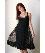 Vintage 50s Silk Lace Ostrich Dress Feather Hem - $175.00