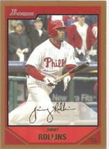Jimmy Rollins Bowman 2007 #170 Gold Philadelphia Phillies Chicago White Sox - $0.75