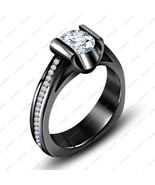 Round Cut CZ Solitaire w/ Accent Ring In 925 Sterling Silver Black Rhodi... - $74.99