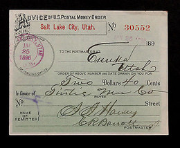 1896 U S POSTAL MONEY ORDER SALT LAKE CITY, EUREKA UTAH in  EXCELLENT CO... - $69.98