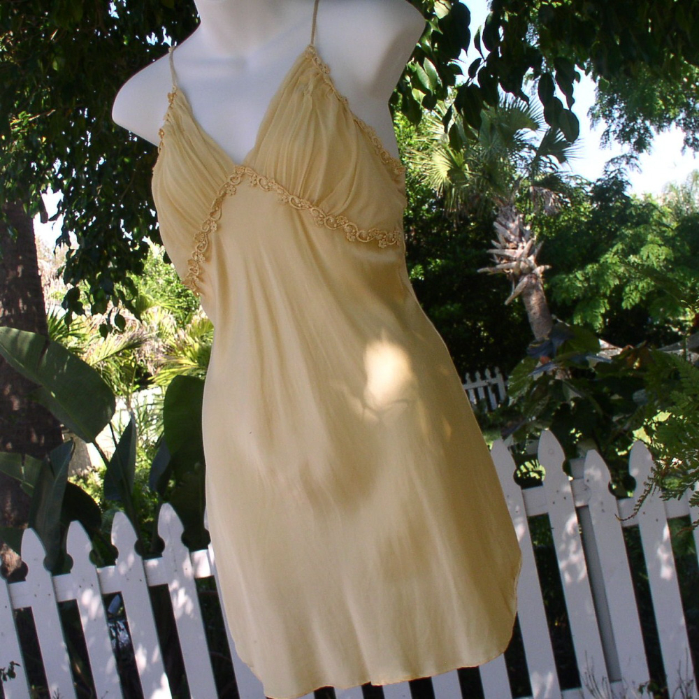 Victoria Secret Mustard Yellow Victorian Sexy Nightgown