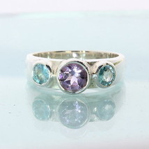 Purple Amethyst Sky Blue Zircon Hand Crafted Silver Three Stone Ring size 7.75 - £59.50 GBP