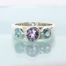 Purple Amethyst Sky Blue Zircon Hand Crafted Silver Three Stone Ring siz... - £59.97 GBP