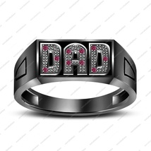 14k Black Gold Finish 925 Silver Round Cut Pink Sapphire Men's Special Dad Ring - $95.89