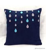 Grey Rainy Days Navy Decorative Pillow Cover.Blue Raindrops Modern Cushi... - $38.50