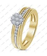 14K Yellow Gold Plated 925 Silver Round Cut White Sim Diamond Engagement... - $70.99