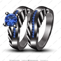 Round Cut Blue Sapphire Sliver  Engagement/Wedding Band Ring & Free Gift - £90.34 GBP