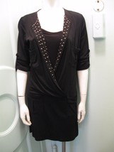 INC Black Studded Shirt Dress M Stretch Rayon Poly Pullover Young Trendy... - $34.64