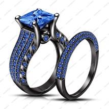 Princess Cut Blue Sapphire Black Gold Finish 925 Silver Wedding Bridal Ring Set - $119.65
