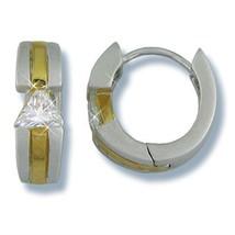 Women Childrens 2 Tone Clear Triangle Cz Hoop Huggie Earrings - $24.74