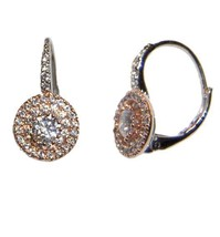 PAVE TWO TONE CLEAR CZ LEVER BACK  HOOP EARRING -BRIDAL - $34.64