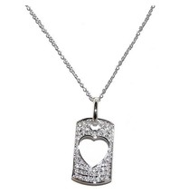 Pave Dog Tag With Open Heart 5A Cubic Zirconia Rhodium Necklace - $39.59