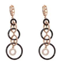 Sterling Silver  Rose & Black Rhodium  Cz  Circle  Hoop Dangle Earring  60mm - $127.71